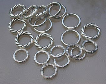 set of 12 resin beads silver rings 1.5 to 2 cm