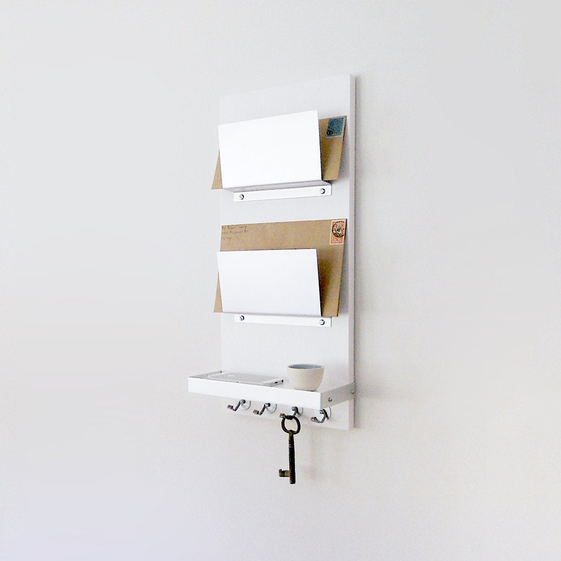 Wall Letter Bin Modern Mail Organizer White Wall Mount Iphone Wallet Key