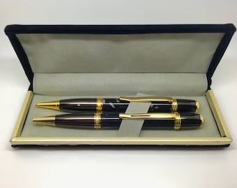 Hand turned Sierra pen and Mechanical Pencil  Set in Mistral Galaxy Corian solid surface material with gold and black metal finish with case