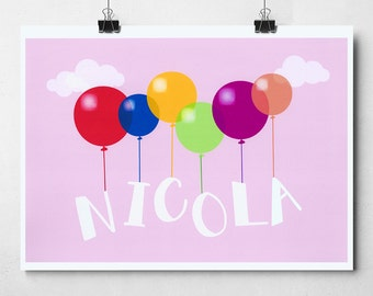Personalised Balloon Name A4/A3 Print