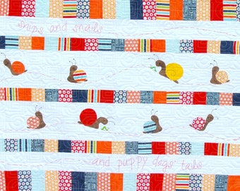 Baby Boy Quilt: Snips & Snails. Nursery Quilt. Crib blanket. Applique quilt. embroidery quilt. small child quilt.