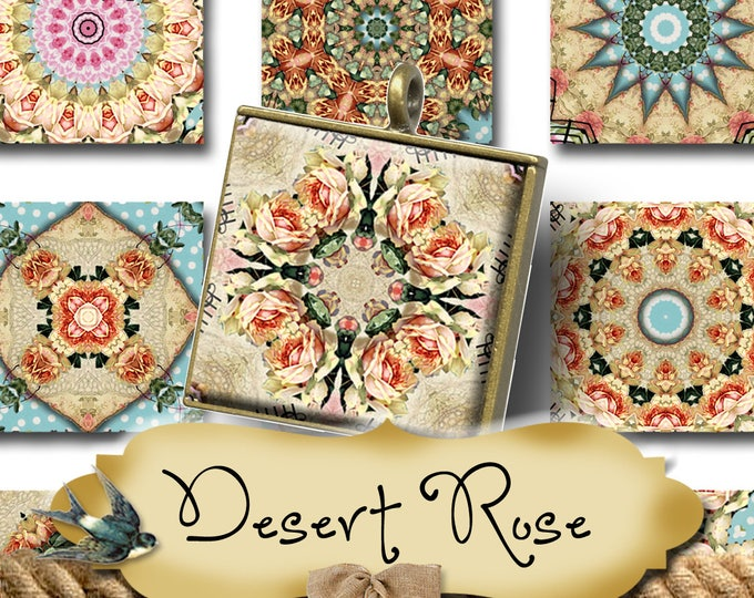 DESERT ROSE•1x1 Square Images•Printable Digital Images•Cards•Gift Tags•Stickers•Magnets•Digital Collage Sheet