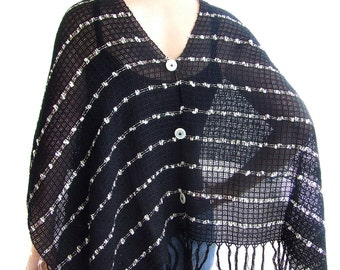 Poncho scarf hand woven cape cotton scarves shrug women lace shawl black silver gold holidays gift buttoned scarf 5 in 1  black scarf