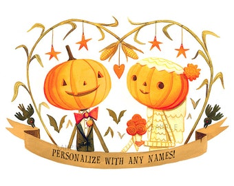 Custom Halloween Couple or Wedding Signed Print Art by Rhode Montijo