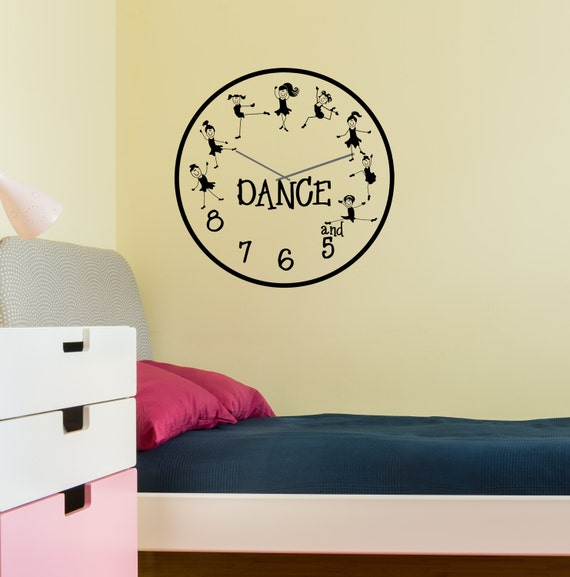 Dance clock and 5 6 7 8 with dancers vinyl decal clock