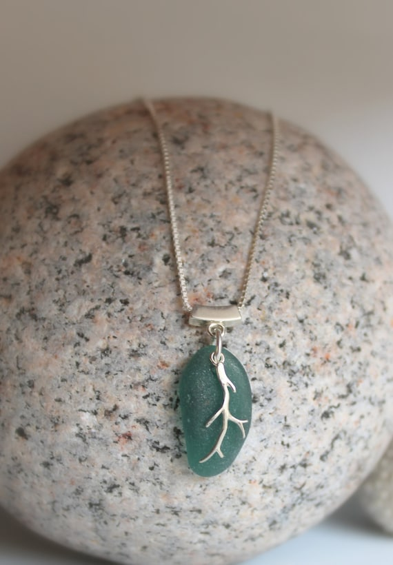 Coral Sea beach glass necklace in deep teal green