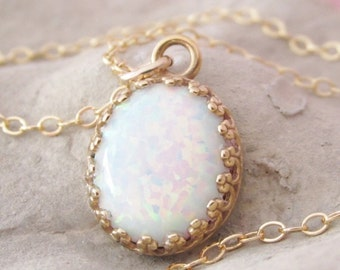 Gold Opal Pendant Necklace, Opal Jewelry, Mothers Day Gift, White Opal Necklace, October Birthstone Jewelry, Gifts For Her, Opal Jewelry Set