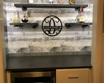 "8"" Floating Industrial Shelves, SteamPunk Shelves, Rustic Wood Shelving, Wooden Shelves, Iron pipe, Wall Decor"