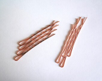 destash, 50 copper plated steel bobby pins, Bulk vintage hair pins, Plain raw bobby pin