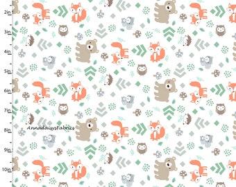 Woodland Animal Fabric, Fox, Bear, Squirrel Owl Quilt Fabric, 3 Wishes Little Forest 12943 White, Woodland Baby Fabric, Cotton Yardage