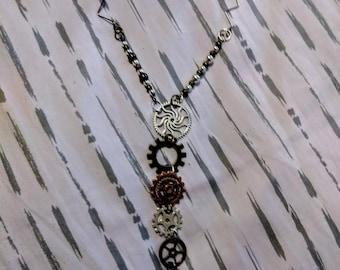 Silver and Bronze Steampunk Y Necklace