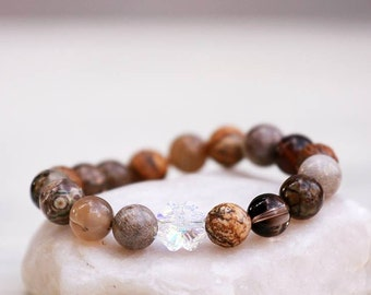 Bracelet with Swarovski Crystal clover and a beautiful collection of natural stones, Balance bracelet,Lucky,Stretch Bracelet, Unique Jewelry