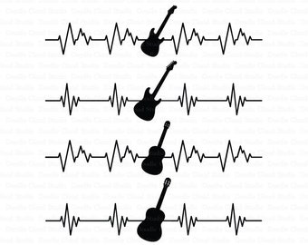 Heartbeat Electric & Acoustic Guitar SVG files for Silhouette Cameo and Cricut. Guitar Rock and Classic Cardiogram Clipart PNG included