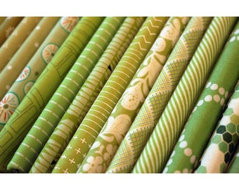 It's Not Easy Being Green Fat Quarter Fabric Bundle of 17
