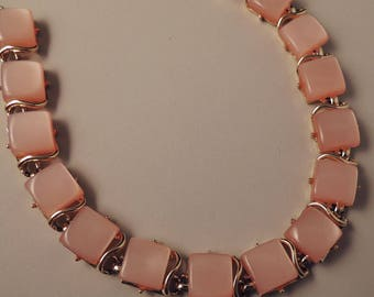 Vintage CORO Pink Necklace, Coro Pink Thermoset Necklace, Coro Pink Lucite Necklace, CoroPinkand Gold Necklace, Signed Coro Jewelry, Pegasus