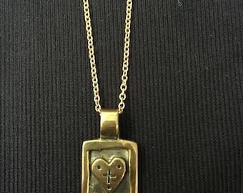 Brass Gold Pandora's Box Heart Necklace