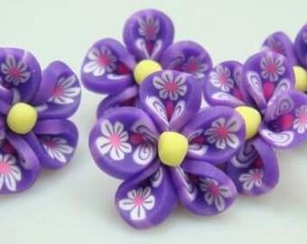 5 Piece Handmade Purple Clay Flower Bead Cabochons - Kawaii Decoden Flatback (TDK-C1552)