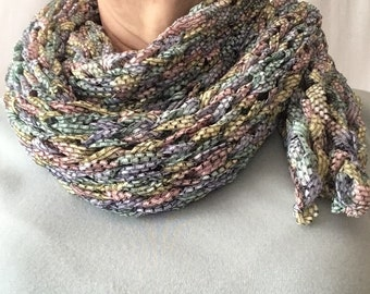 Hand knit scarf; pastel ribbons, head wrap, summer scarf; bandana or cowl