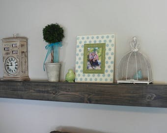 "Fireplace Mantel Wood Wall Shelf - Floating Shelf Beam Style in lengths of 36"" 48"" 60"" 72"" and 84""- Fireplace Mantel Gray Stained"