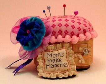 """Pincushion.  Moms Make Memories Resin/Ceramic Sewing""""Basket"""" 5"""" W by 5"""" H,  4 oz net, #  Pin Cushion"""