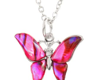 Pink Butterfly Necklace Abalone Necklace Abalone Pendant Birthday Gift for Her Hypoallergenic Jewelry Paua Jewellery Paua Shell Necklace