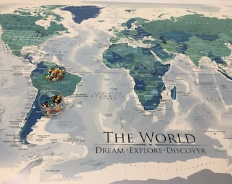 Designer World Map in Blue Green, World Push Pin Map, Large World Map, World Pin Map, Pin Board Map, Personalized Map