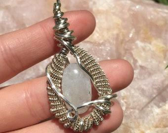 Rainbow Moonstone Wire Wrap Pendant -Necklace