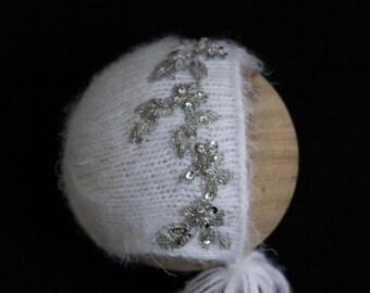 Crystal sparkle baby bonnet set, couture bonnet, knit onesie, knit wrap, knit photo prop, newborn luxe bonnet, photography prop, Tatiana