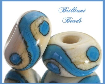 Turquoise & Ivory...Matched Pair of Handmade Lampwork Glass Beads SRA, Made To Order