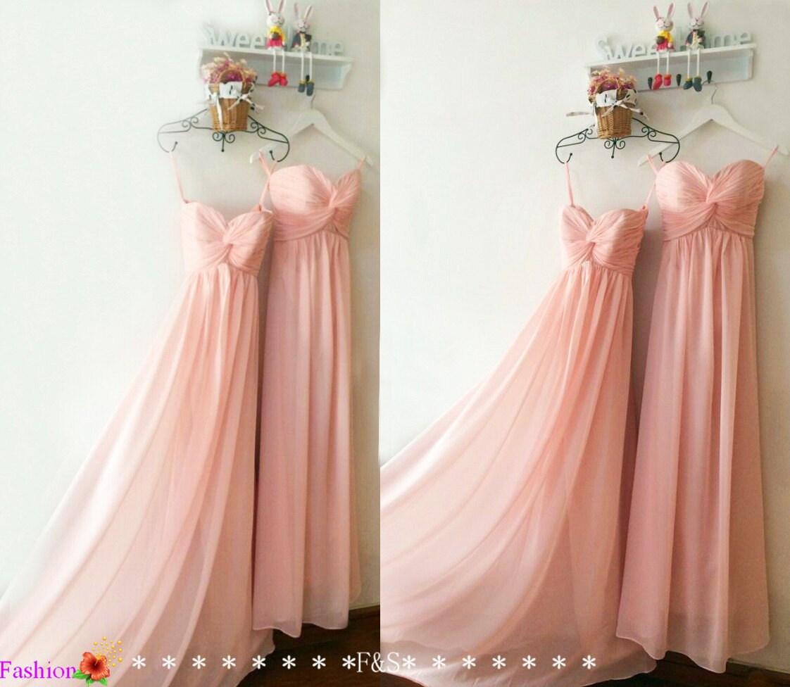Blush pink bridesmaid dressinexpensive peach bridesmaid zoom ombrellifo Gallery