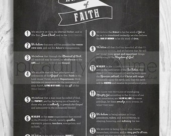 LDS Articles of Faith poster - 16x20, 11x14 or 8.5x11 printable