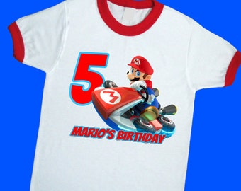 Mario Kart Birthday Ringer Tee. Super Mario Birthday Shirt. Personalized with Name and Age. 1st 2nd 3rd 4th 5th 6th Birthday T Shirt (25091)
