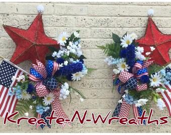 Memorial Day Wreath,American Flag Wreath,4th of July Wreath,Patriotic Wreath,Double Door Wreath,Front Door Wreath,Farmhouse Patriotic Wreath