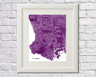 Los Angeles Street Map Print Map of LA City Street Map California Poster City Art Poster