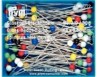 Prym Straight Glass-headed Pins 48mm x 0.80mm Size 30g (29212)