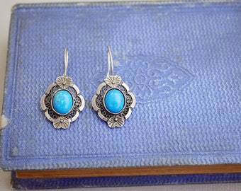 Vintage Sterling Silver Earrings with Blue Stone