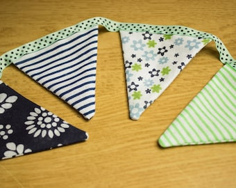 Floral Striped Blue and Green Bunting 160cm