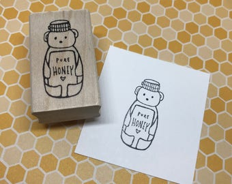 Honey Bear | Wood Mounted Rubber Stamp | KP5392E
