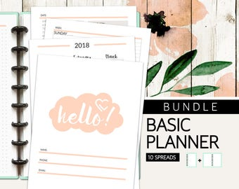 Planner Bundle | 10 Spreads | Digital Planner Pages | Instant Download Printable PDF Files | Calendars, Trackers, Weekly, Spreads