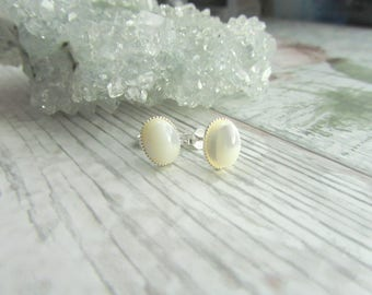 Natural Mother Of Pearl Stud Earrings - 925 Sterling Silver Gemstone Jewellery - Cream Earstuds