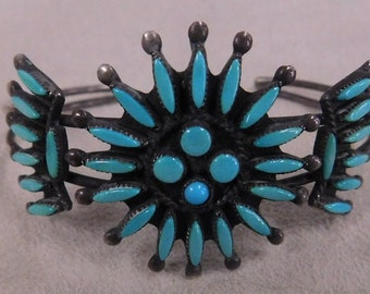Vintage Sterling Silver and Turquoise Needlepoint Cuff Bracelet