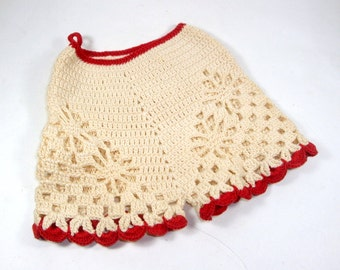 Vintage Crochet Pot Holder, Potholders, Pants, Bloomers, Mid Century Kitchen Decor, Retro Wall Hanging, Red, Beige