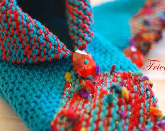 Turquoise and Red booties made for adult hand