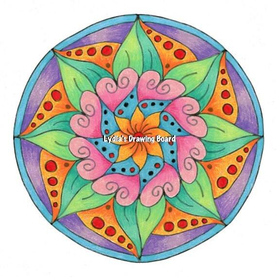 Mandala Art, Mandala Wall Art, Mandala Print, Flowers, Flower Art, Organic Art, Heart Art, Heart Artwork, Meditation Art, Peaceful Art