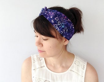Batik Turban Headband, Blue Turband, Boho Headwrap, Twist Headband