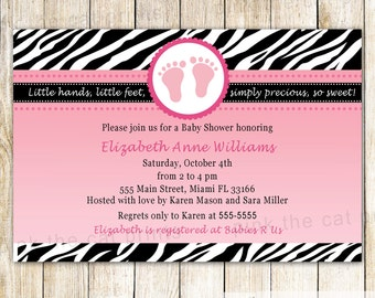 Baby Shower Invitation Card - Pink Feet Invitation Zebra Baby Shower Zebra Invitation Diva Invitation Pink Zebra Baby Shower Printable Card