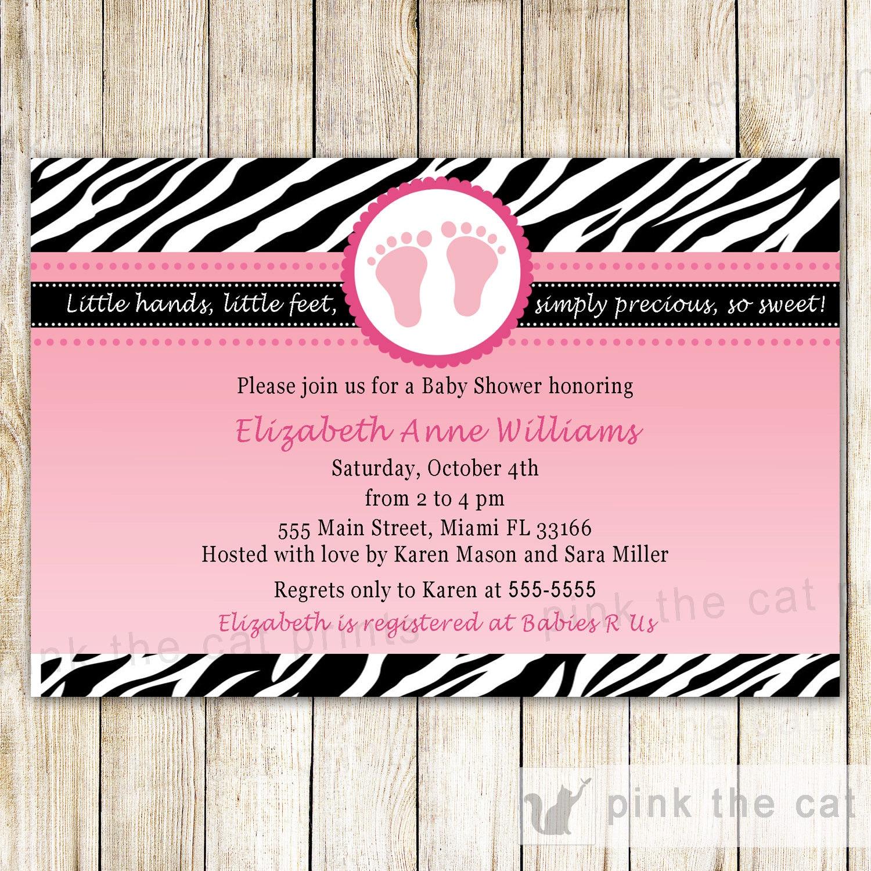 Baby Shower Invitation Card Pink Feet Invitation Zebra Baby