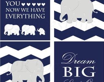 Navy Blue Elephant Nursery Decor, Boy Jungle Nursery Art, Gift for New Baby, Navy Blue and White Nursery, Playroom Decor - 8x10s