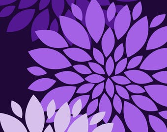 Printable Wall Art   Wall Decor   Purple Flowers   Instant Download