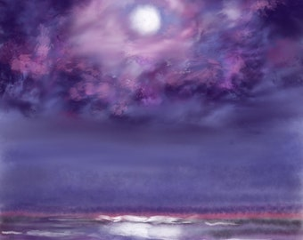 Ocean In Purple Evening